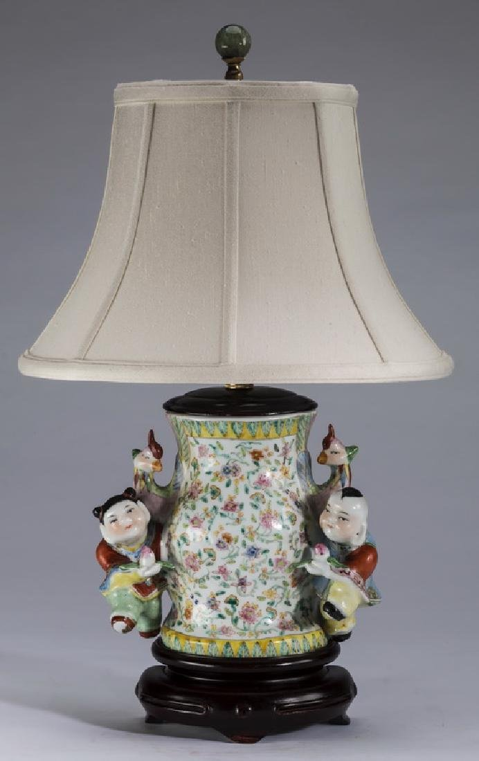 """Chinese famille rose wall vase mounted as lamp, 21""""h"""