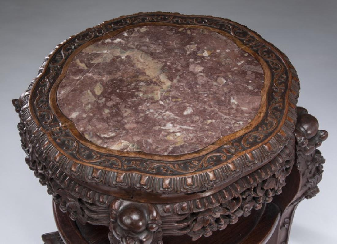 Chinese carved hardwood marble top side table - 2