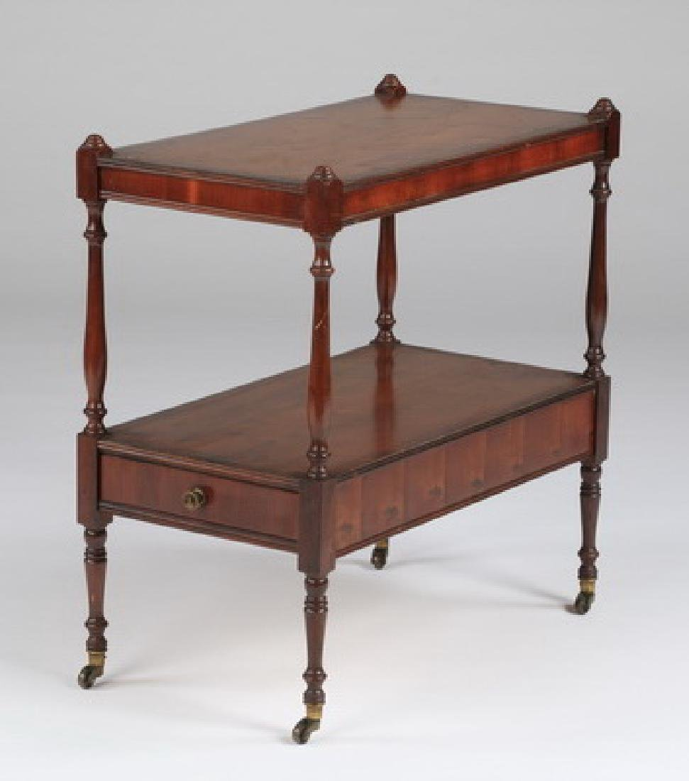 """Two-tiered English style side table w/drawer, 22""""h"""
