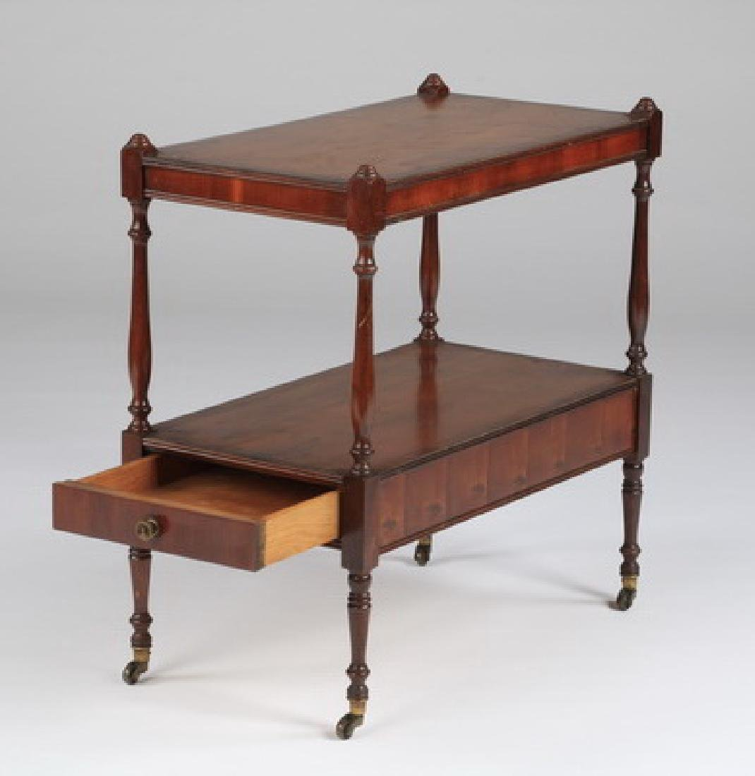 """Two-tiered English style side table w/drawer, 22""""h - 4"""