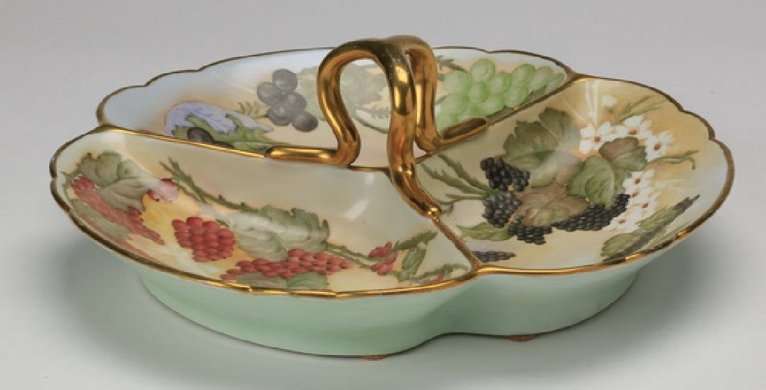 Austrian hand painted serving dish, marked