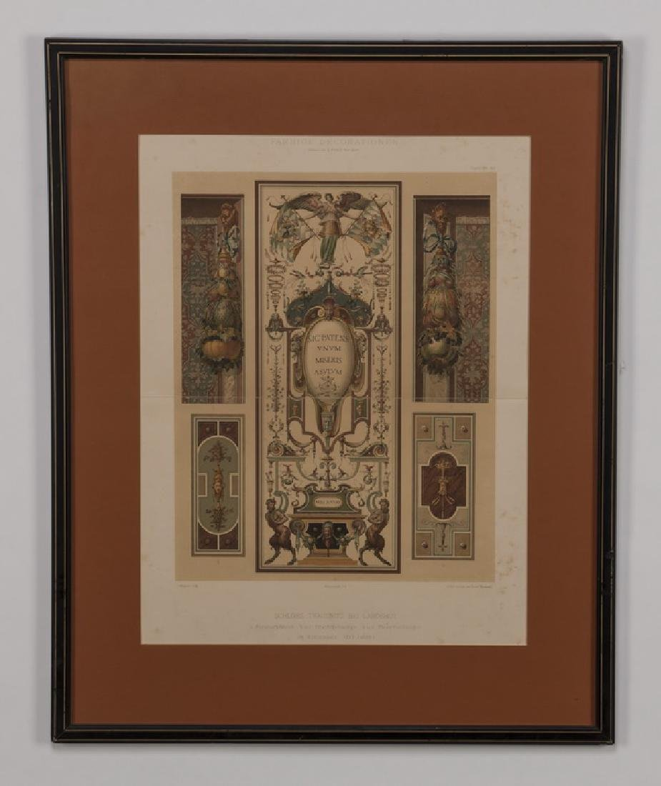 (3) 19th c. hand colored engravings, matted & framed