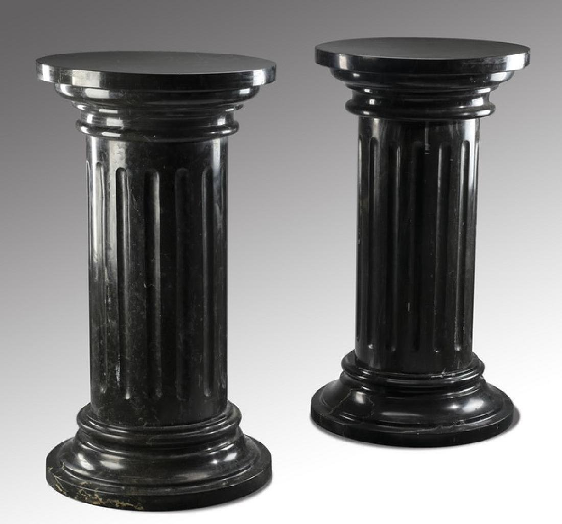 "Pair of black Belgian marble pedestals, 35""h"