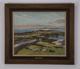 Robert Taylor Carson O/c Of Irish Landscape, Signed