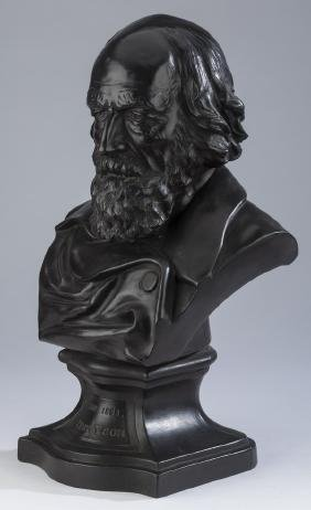 "19th C. Wedgwood Basalt Bust Of Tennyson, 19""h"
