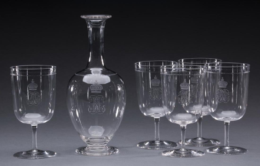 6-Piece Continental crystal sherry glasses and carafe