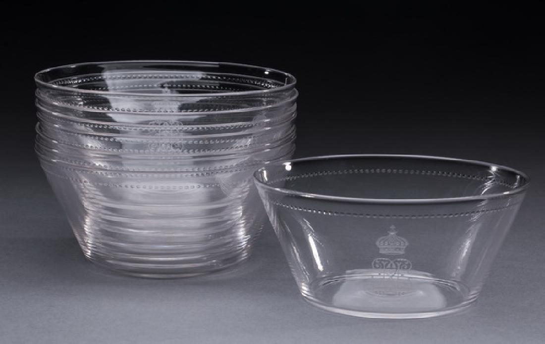 "(8) Continental crystal bowls, w/ monogram, 5""dia"