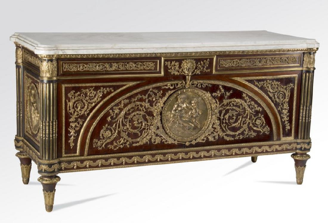 "Louis XVI style marble top commode à vantaux, 70""w"