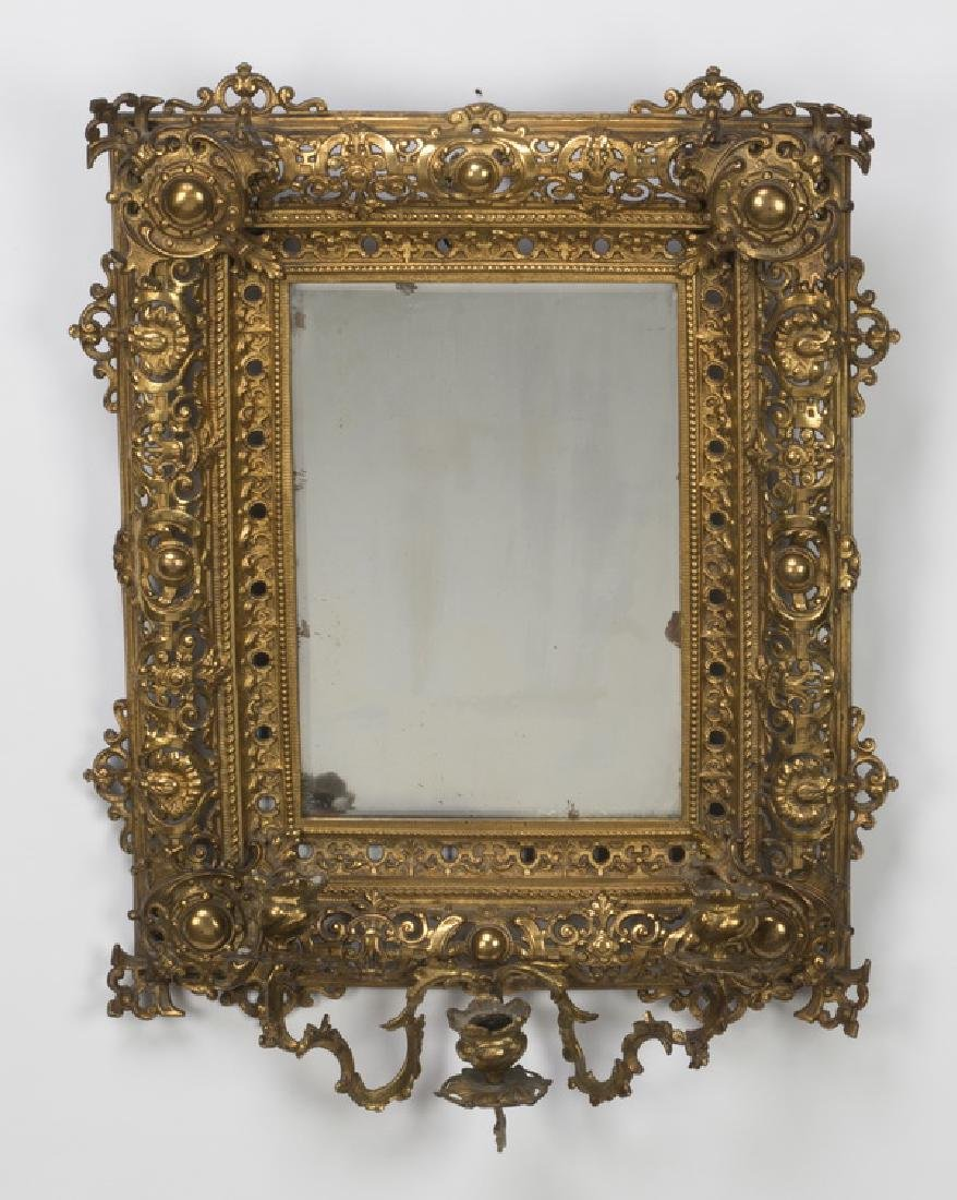 "Pierced gilt brass mirror with candleholders, 24""h"