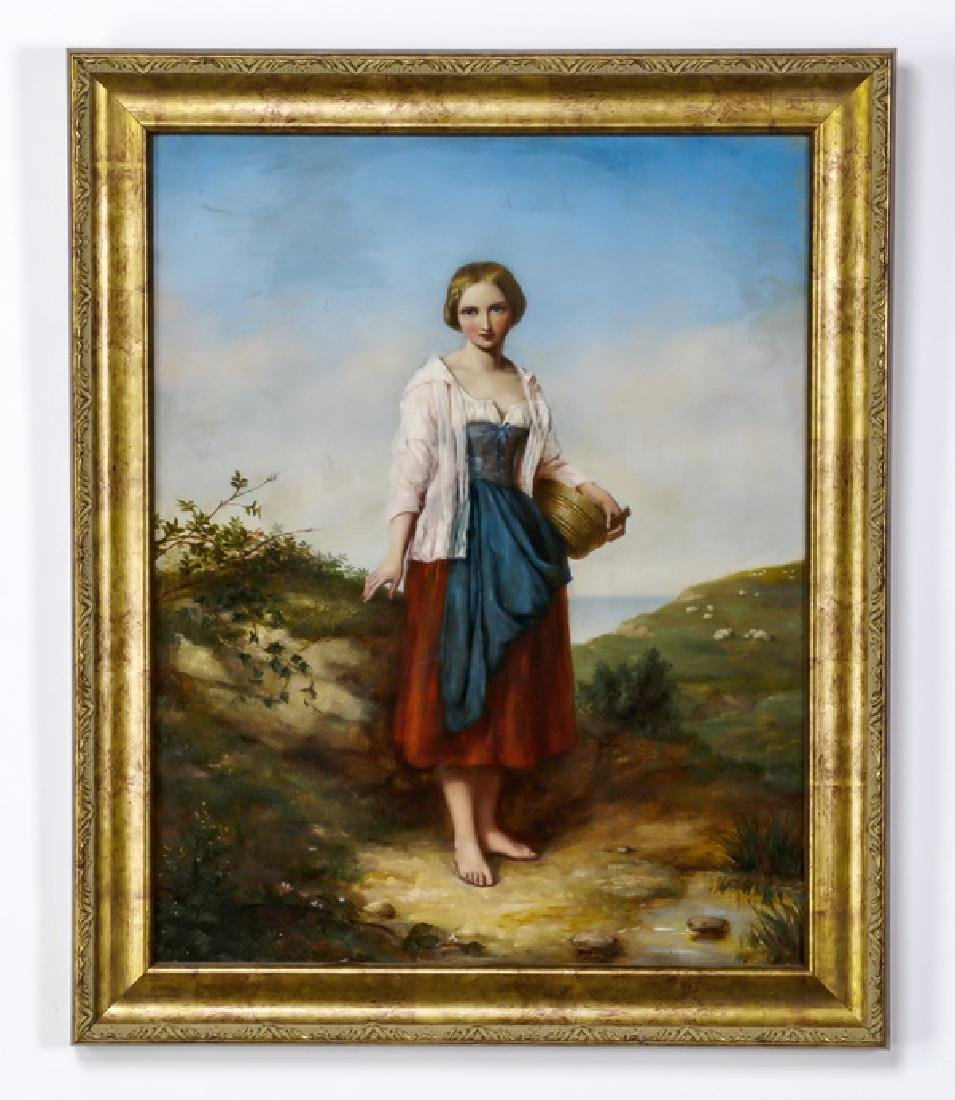 Continental O/c of pastoral scene with peasant maiden