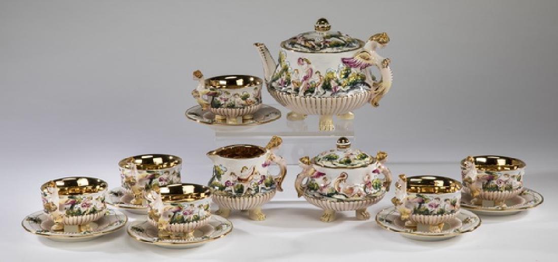 (15) Pcs. Italian Capodimonte tea service for six