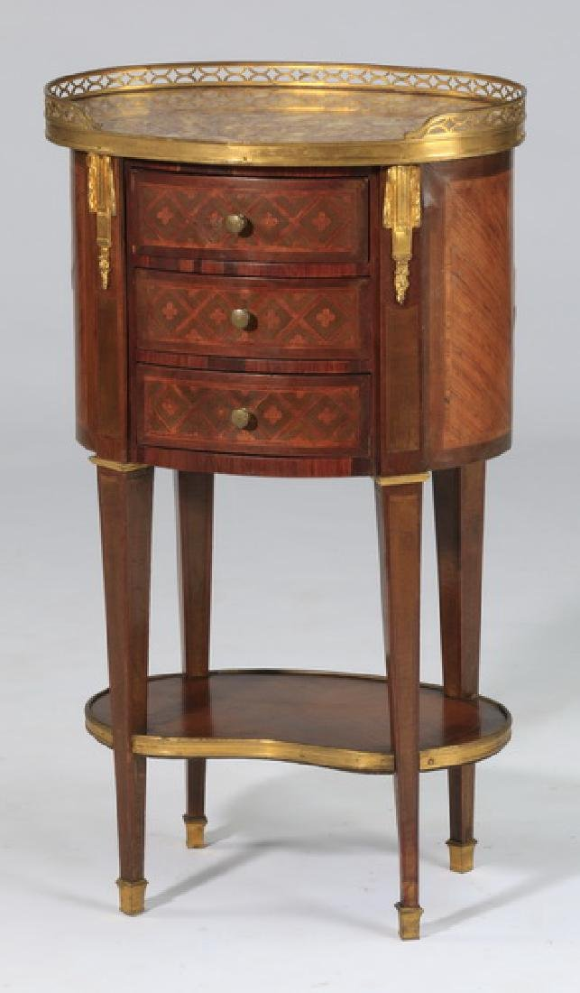 """19th c. French inlaid marble top side table, 31""""h"""