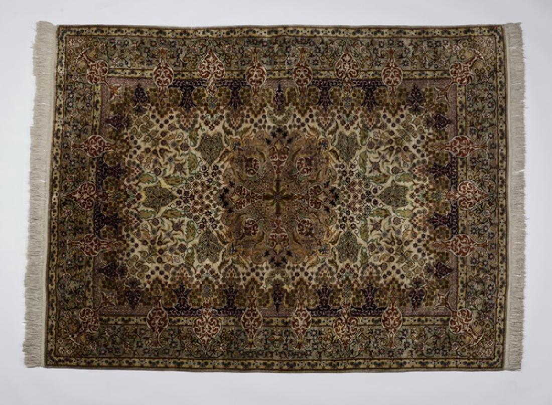 Sino-Tabriz silk-on-silk rug, 4 x 6