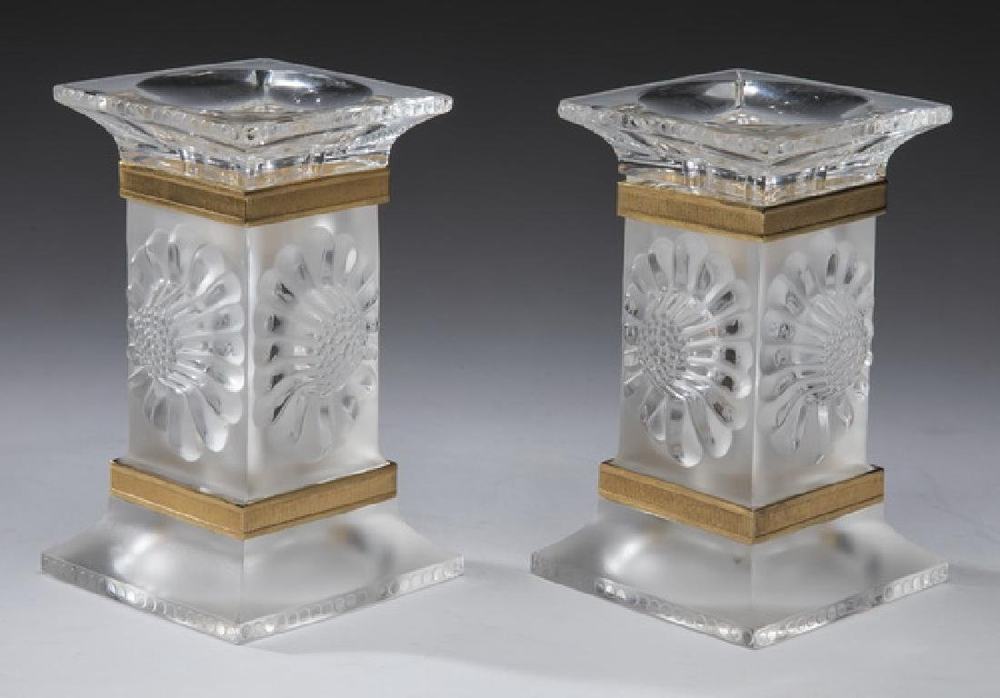 """Pair of Lalique 'Paquerettes' candlesticks, 5""""h"""