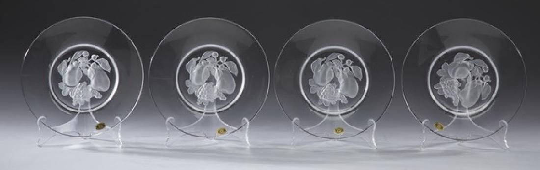 """(4) Val Saint Lambert crystal fruit plates, 8""""dia"""