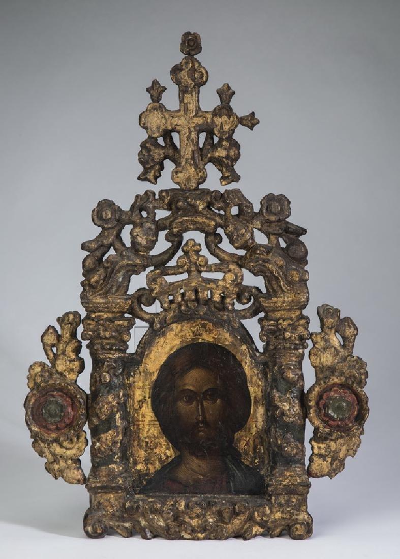"18th c. Greek Orthodix icon of Christ, 20""h"