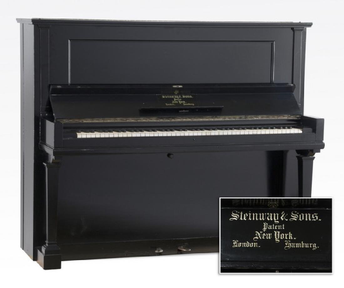 Steinway & Sons ebonized upright piano and bench