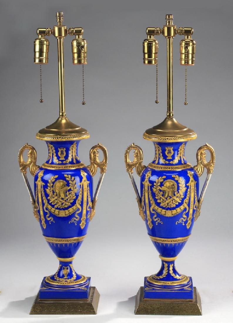 (2) English gilt porcelain urns mounted as lamps