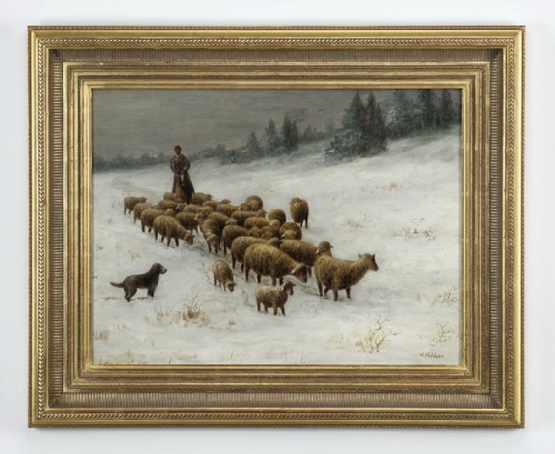 Wesley Webber signed O/c of sheep and herder in snow