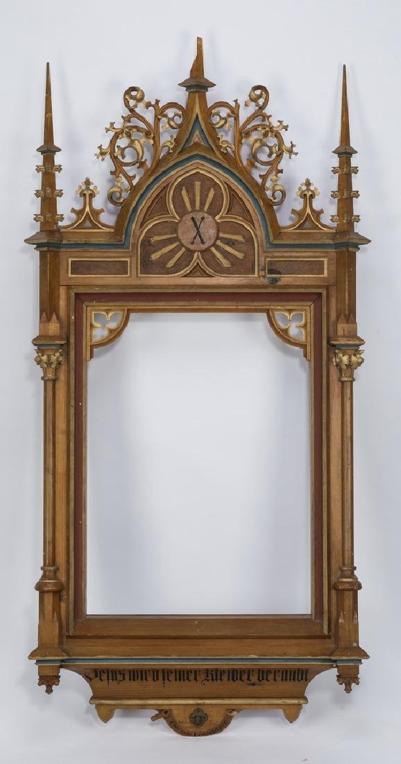 """Gothic Revival style carved, decorated frame, 62""""h"""