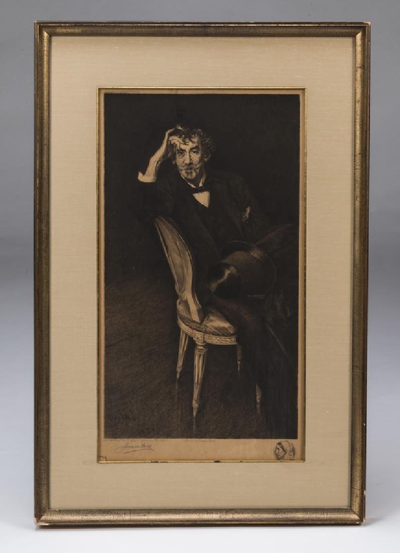 J. Reich etching of Whistler portrait after Boldini