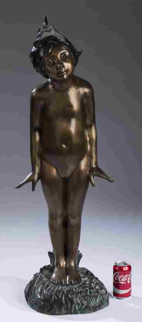 After E.H Berge, 20th c. 'Wildflower' bronze fountain