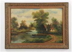 20th c American School Oc country scene signed