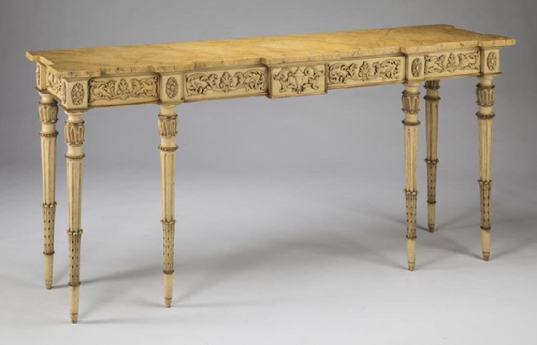 """Karges Furniture paint decorated console, 69""""w"""