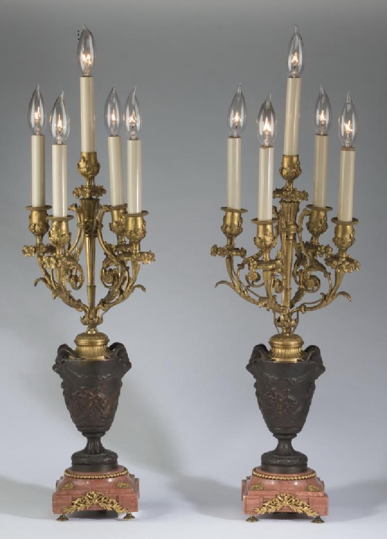 (2) 19th c. French 5-light bronze & marble candelabra