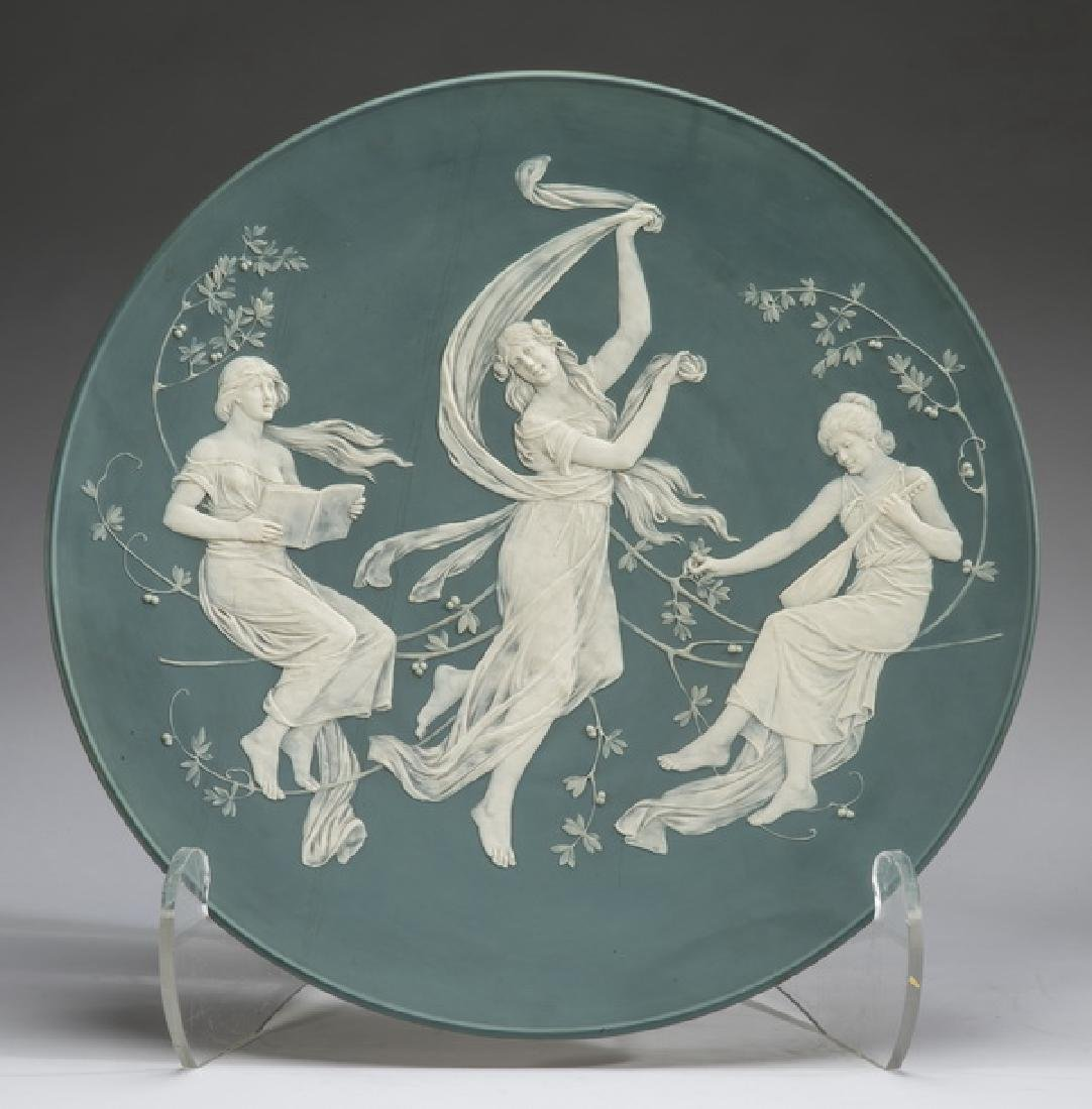 """Mettlach pate sur pate 'Three Muses' charger, 21"""""""