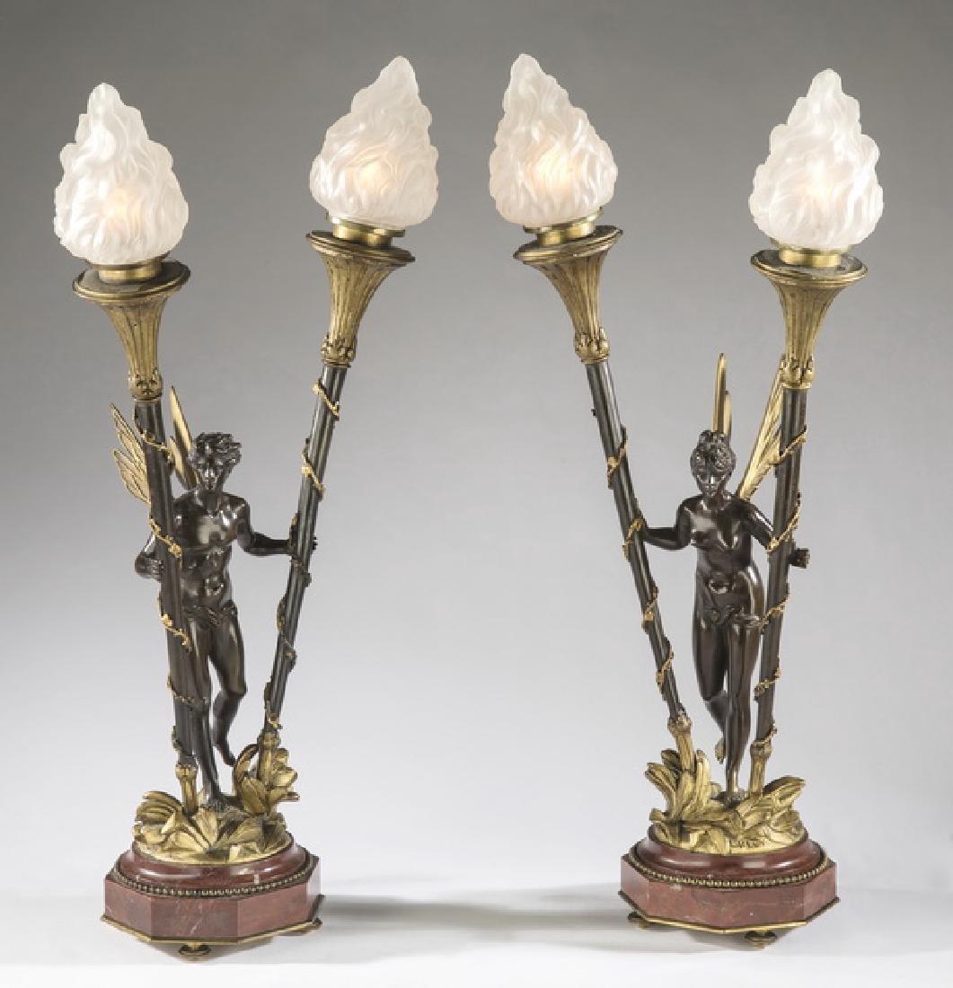 (2) Louis Kley signed Art Nouveau bronze fairy lamps