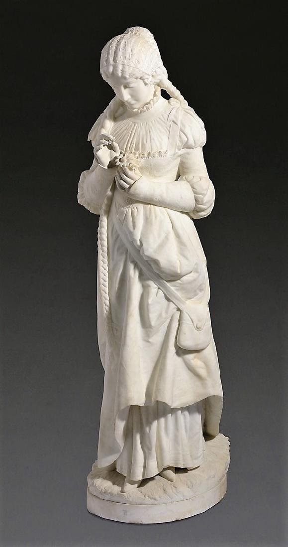 """19th c. Continental marble sculpture, 51""""h"""