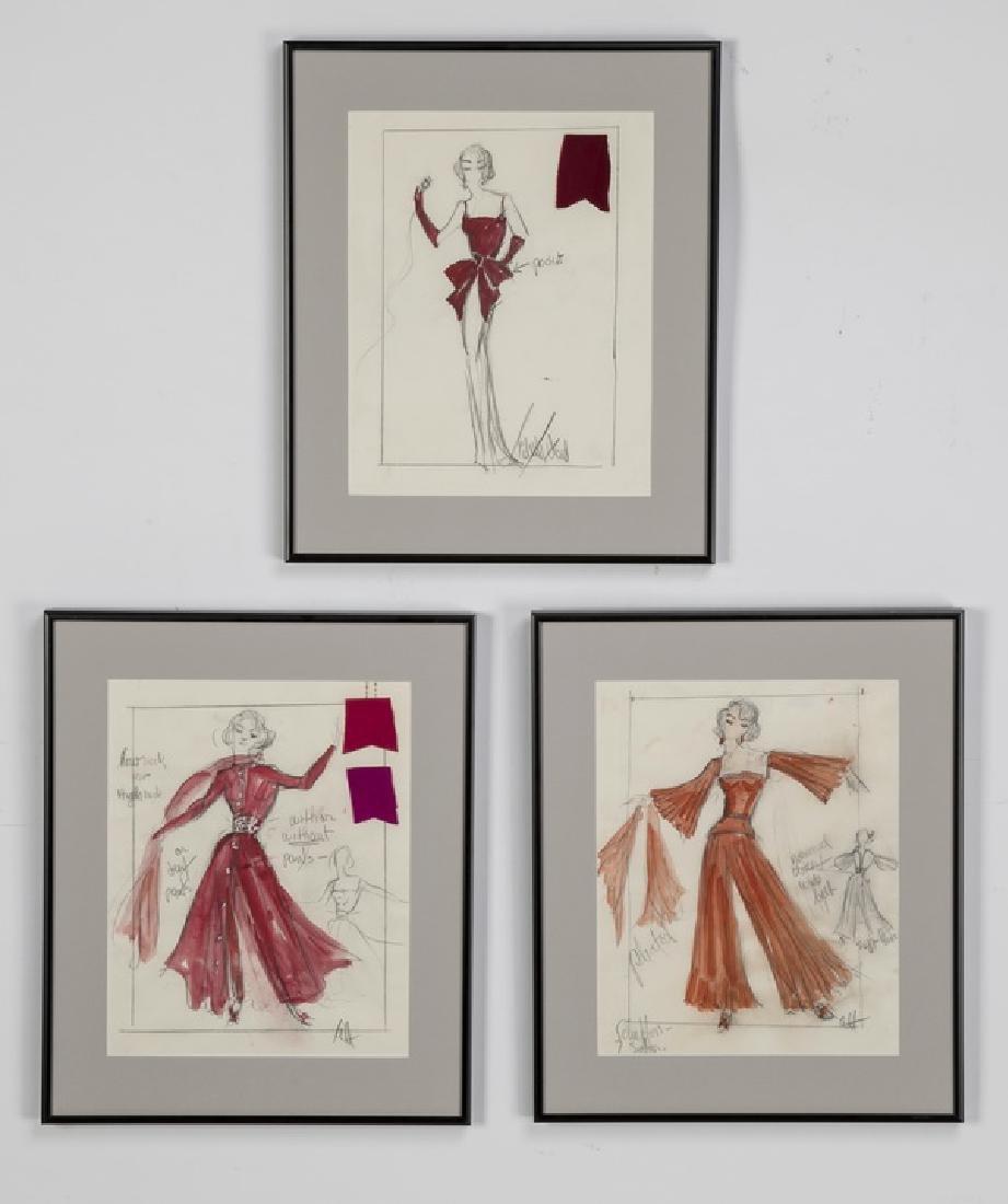 (3) Edith Head original fashion sketches, framed