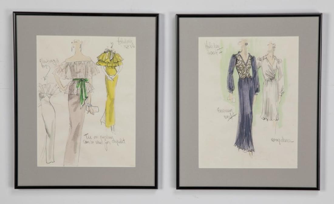 (2) Edith Head original fashion sketches, framed