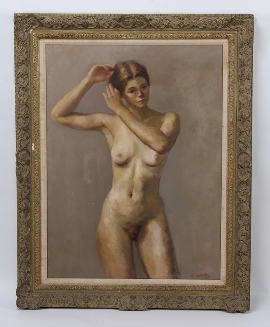 Marc Chatov signed O/c portrait of standing nude