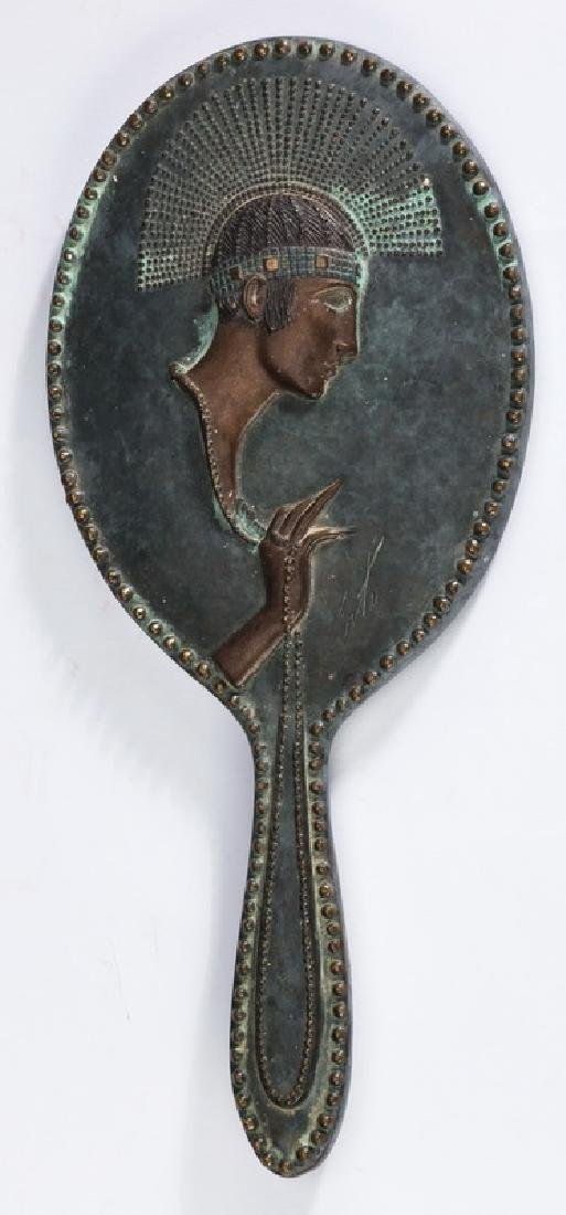 'Pearls', bronze hand mirror by Erte w/ fitted case