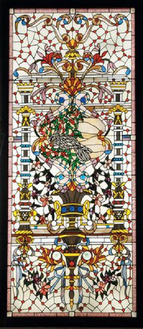 """Beveled and stained glass landing window, 117""""h"""