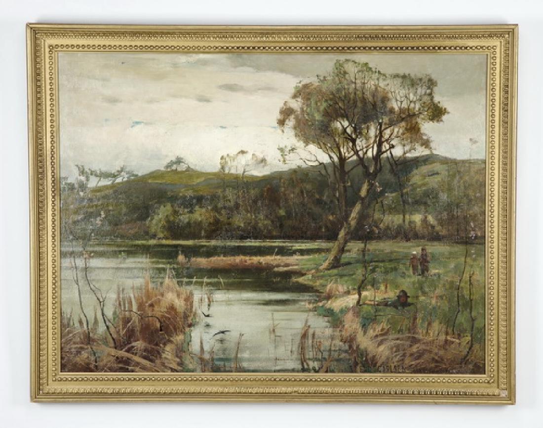 Emil S. Carlsen signed O/c of pastoral lake w/figures
