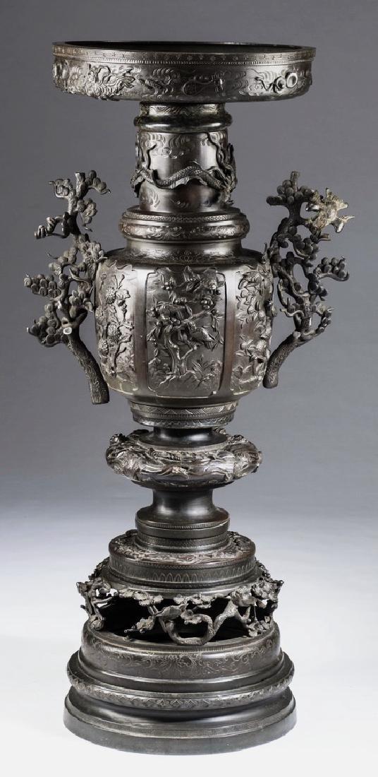 """Meiji period Japanese bronze Usubata, 44""""h"""