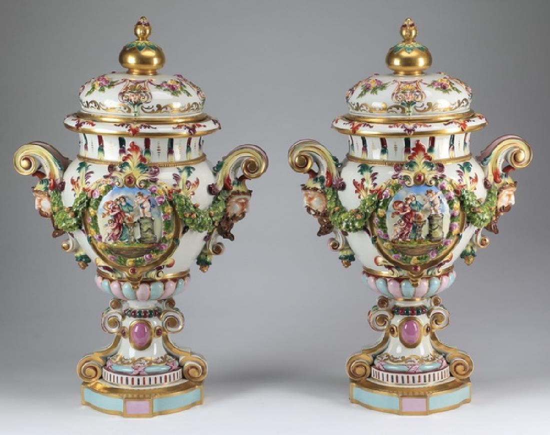 "(2) Italian Capodimonte lidded urns, marked, 25""h"