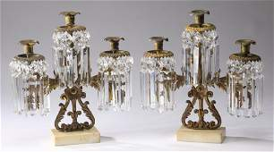 (2) Rococo style gilt metal and crystal candelabra