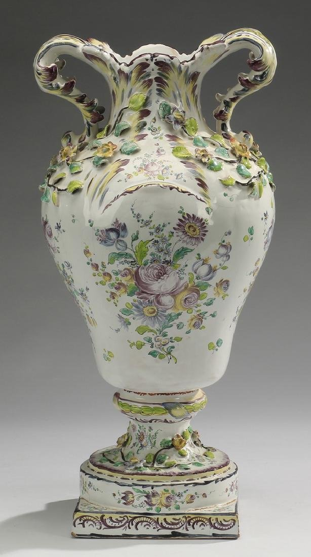 French Faience Rococo Style Vase 20h