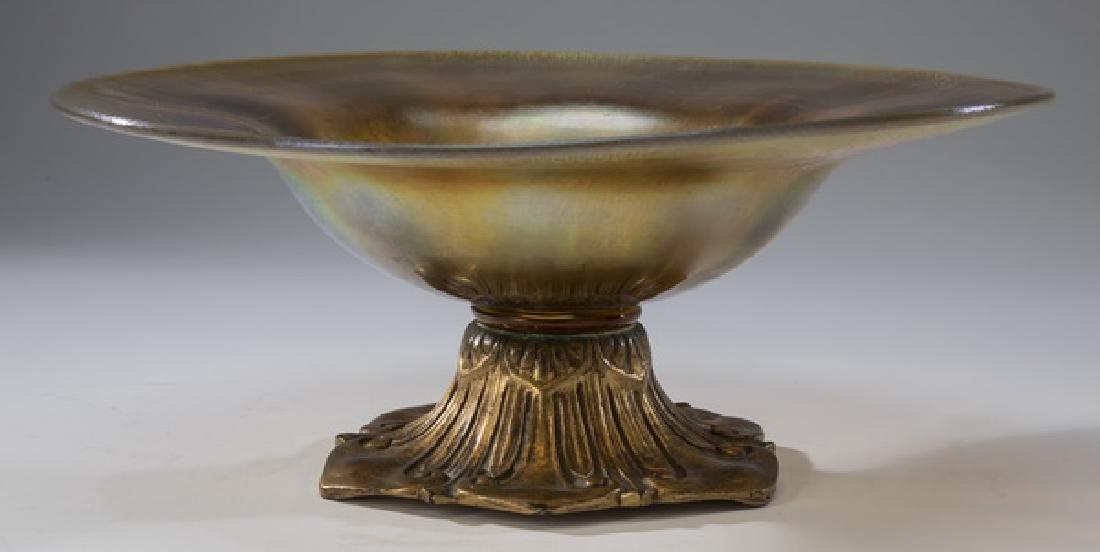 "Tiffany Furnaces gold favrile center bowl, 12""dia."