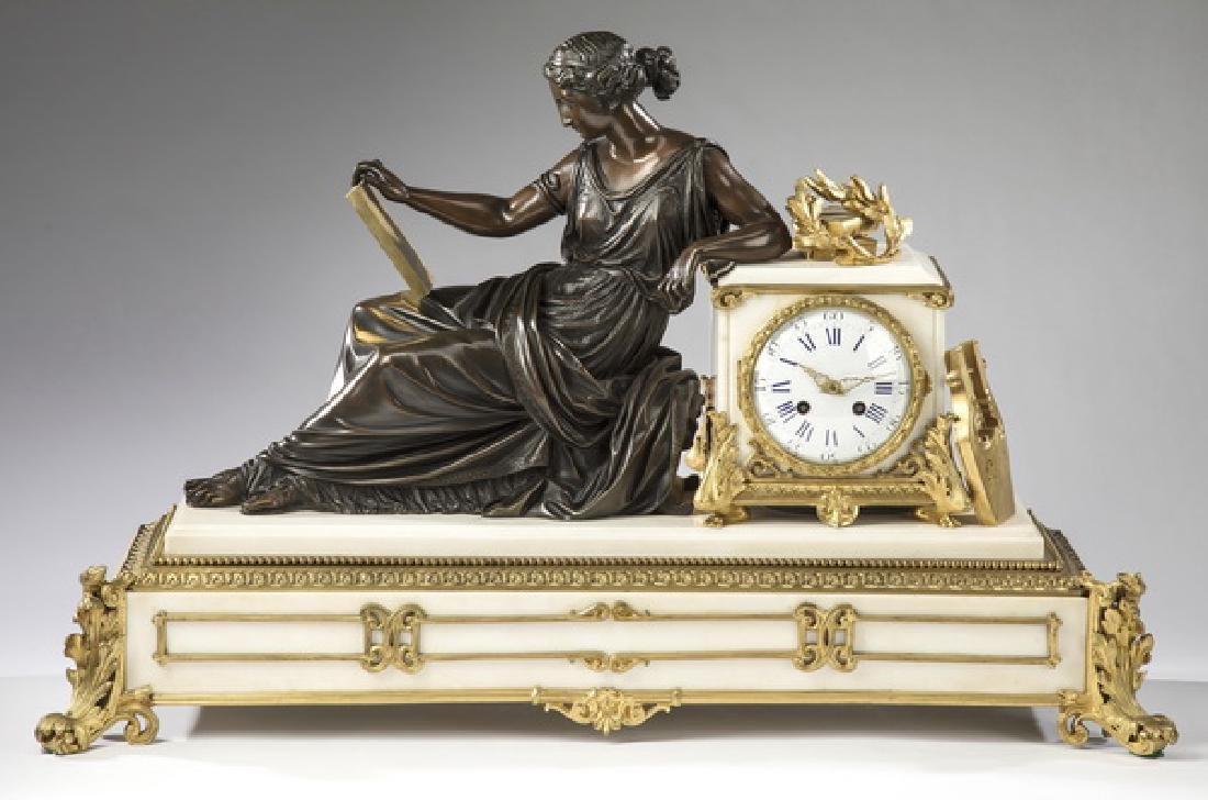 Richond, Paris bronze & marble figural clock, ca 1860