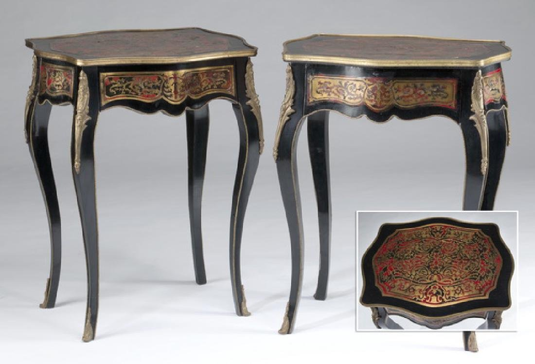 19th c. Continental boulle inlaid side tables