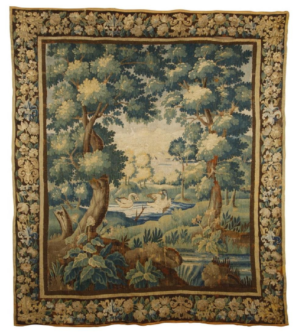 """18th c. hand knotted Flemish verdure tapestry, 104""""h"""