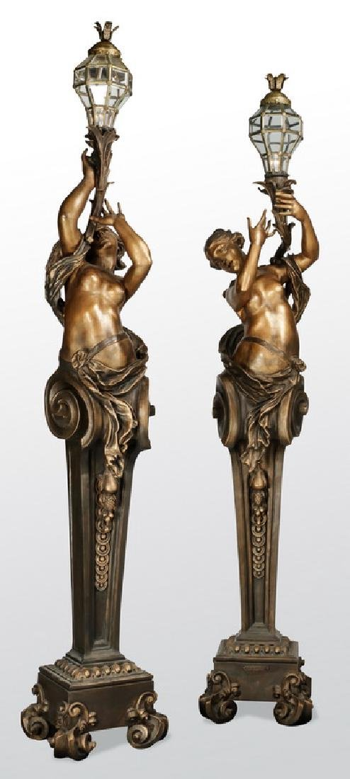 """(2) French paint decorated torchieres, 104""""h"""