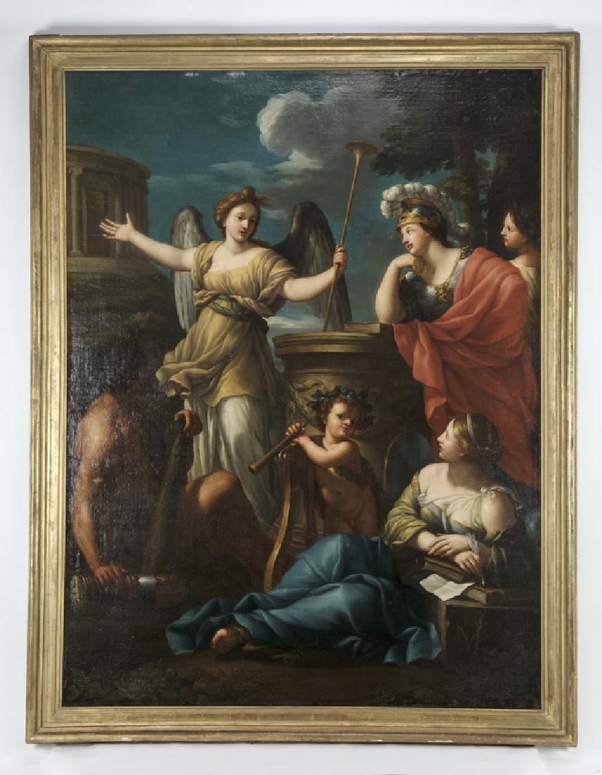 Monumental 19th c. Italian O/c of allegorical figures