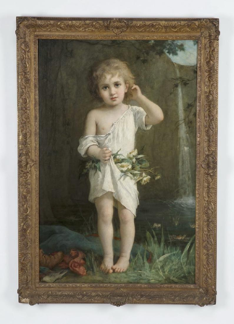19th c. Leon Jean Perrault signed O/c, 'After a Swim'