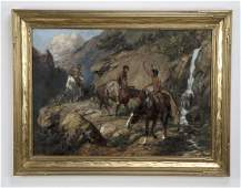 Charles Corwin signed O/c of Native Americans, 1915